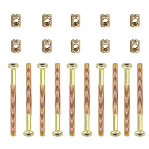 TOVOT Hex Socket Head Cap Screws Bolts Furniture Bolt w Threaded M 6 x 75 MM Barrel Nuts Cross Dowel Slotted Furniture Nut for Beds Crib Chairs ()