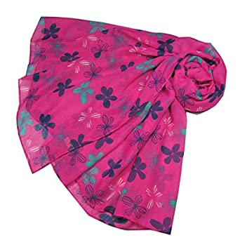 34ea7dd9f75cf Purple Possum® Pink Floral Scarf Ladies Navy Blue Turquoise White Flowers  Wrap Flower Shawl: Amazon.co.uk: Clothing
