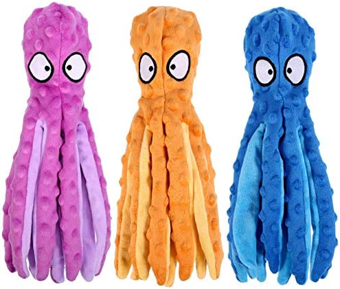 Heyu-Lotus 3 PackPuppy Dog Chew ToysNo Stuffing SqueakyOctopus Dog Toys Soft Interactive Dog Toys for Puppy Small Dogs(Purple, Blue, Orange)
