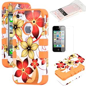 Pandamimi ULAK(TM) 3-Piece Hybrid High Impact Case Cover for iPhone 4 4S 4G with Screen Protector (Orange flower)