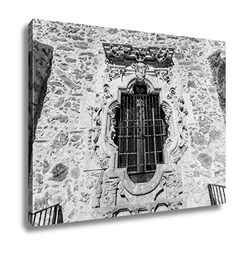 Fine Arts Mission Rose (Ashley Canvas Rose Window Of The Historic Old West Spanish Mission San Jose Founded In 1720, Kitchen Bedroom Living Room Art, Black/White 24x30, AG5430979)