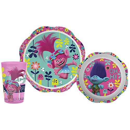 Zak Designs TROG-0391 Kids Dinnerware Sets, 3 Piece, Trolls Movie]()