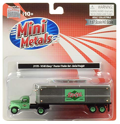1941-1946 Chevrolet Tractor Trailer Truck So-Cal Freight 1/87 (HO) Scale Model by Classic Metal Works 31178