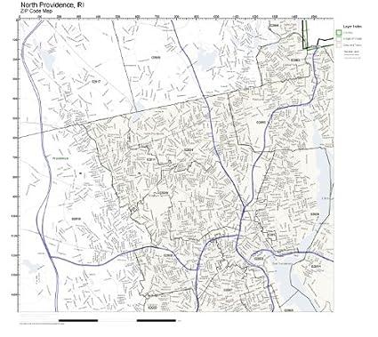 Amazon.com: ZIP Code Wall Map of North Providence, RI ZIP Code Map ...