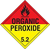 Accuform MPL504CT100 PF-Cardstock Hazard Class 5/Division 2 DOT Placard, Legend''ORGANIC PEROXIDE 5.2'' with Graphic, 10-3/4'' Width x 10-3/4'' Length, Black on Red and Yellow (Pack of 100)