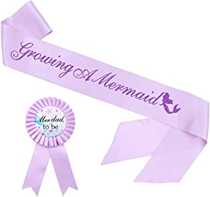 Growing A Mermaid Sash & Mer-Dad to Be Pin Kit - Under The Sea Baby Shower Gender Reveals Party Gifts (Purple)