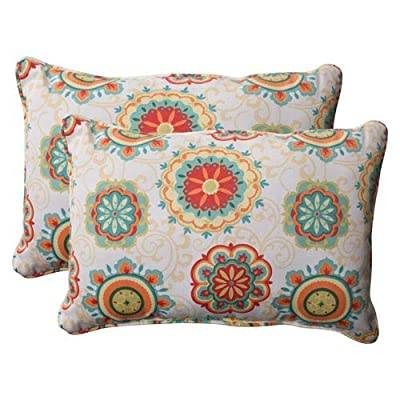 Pillow Perfect Outdoor Fairington Corded Oversized Rectangular Throw Pillow, Aqua, Set of 2 - Includes two (2) outdoor pillows, resists weather and fading in sunlight; Suitable for indoor and outdoor use Plush Fill - 100-percent polyester fiber filling Edges of outdoor pillows are trimmed with matching fabric and cord to sit perfectly on your outdoor patio furniture - patio, outdoor-throw-pillows, outdoor-decor - 51ex9Ca06zL. SS400  -