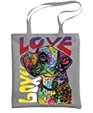 - BOXER LUV - dog breed pit Dean Russo - Heavy Duty Tote Bag, Gray
