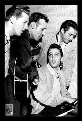 Quartet Legends (Buyartforless Framed Million Dollar Quartet - Elvis Presley - Jerry Lee Lewis - Carl Perkins - Johny Cash Music Art Print Poster, 36