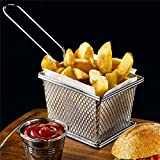 Lautechco® Mini Chips Fry Baskets Stainless Steel Fryer Basket Strainer Serving Food Presentation Cooking Tool French Fries Basket