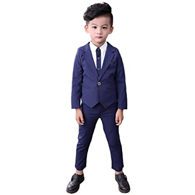 23a4af19e3 DREAMOWL Little Boys Tuxedo Shirt Wedding Party Suit Formal Wear Suit 3PCS  (Blue, 4