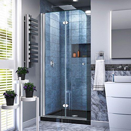 DreamLine Aqua Fold 36 in. D x 36 in. W x 74 3/4 in. H Frameless Bi-Fold Shower Door in Chrome with Black Acrylic Base Kit, - Glass Aqua Base Shower