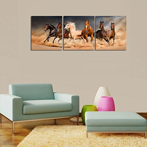 Sunding Art-Oil Paintings On Canvas 3 Pieces Giclee Horse With Modern Wooden Framed Artwork Pictures Wall Decor For Living Room and Bedroom Ready to Hang 5560cm3pics 21.623.6inch3pics