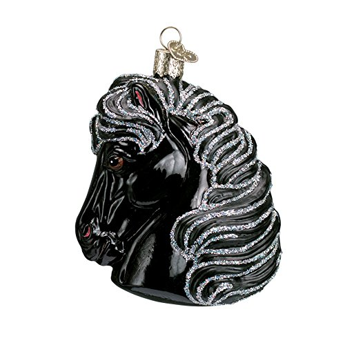 (Black Horse Head Blown Glass Christmas Ornament by Old World Christmas)