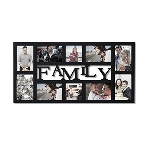 "Adeco 10-Opening Decorative Black Wood ""Family"" Wall Hanging"