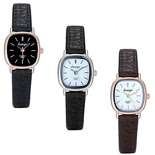 Oval Watch Face - Lancardo WoMen's Silver Tone Small Rounded Square Face Wrist Watch With Leather Strap(3PCS)