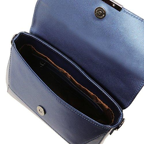 81416494 - Pelle Toscana: Borsa Tl - Pochette In Pelle Ruga Metallizzata, Blu Scuro