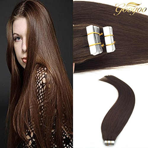 Googoo Thick Tape in Hair Extensions Brown 20pcs 50 g 100% Real Remy Hair Extensions with Skin tape 20 inch (Wavy Tape In Real Hair Extensions)