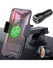 Wireless Car Charger Mount, CTYBB Qi Automatic Clamping Air Vent Dashboard Car Phone Holder & QC 3.0 Car Charger, 7.5W Fast Charging for iPhone Xs/Xs Max/XR 10W Compatible for Galaxy S10/S10+/S9