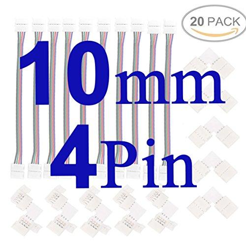 FSJEE 10mm 5050 RGB LED Strip Light Connectors Kits with 10PCS L Shape 4 Pin Right Angle Corner Solderless Connector and 10PCS Solderless Wire 4 Pin 10mm Wide Strip to Strip Jumper by FSJEE (Image #1)