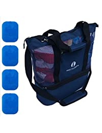 Improved Mesh Beach Bag with Leak-proof Rigid Cooler