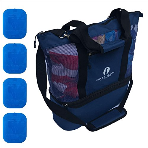 Red Suricata Improved Mesh Beach Bag with Leak-proof Rigid Cooler (Blue) by Red Suricata