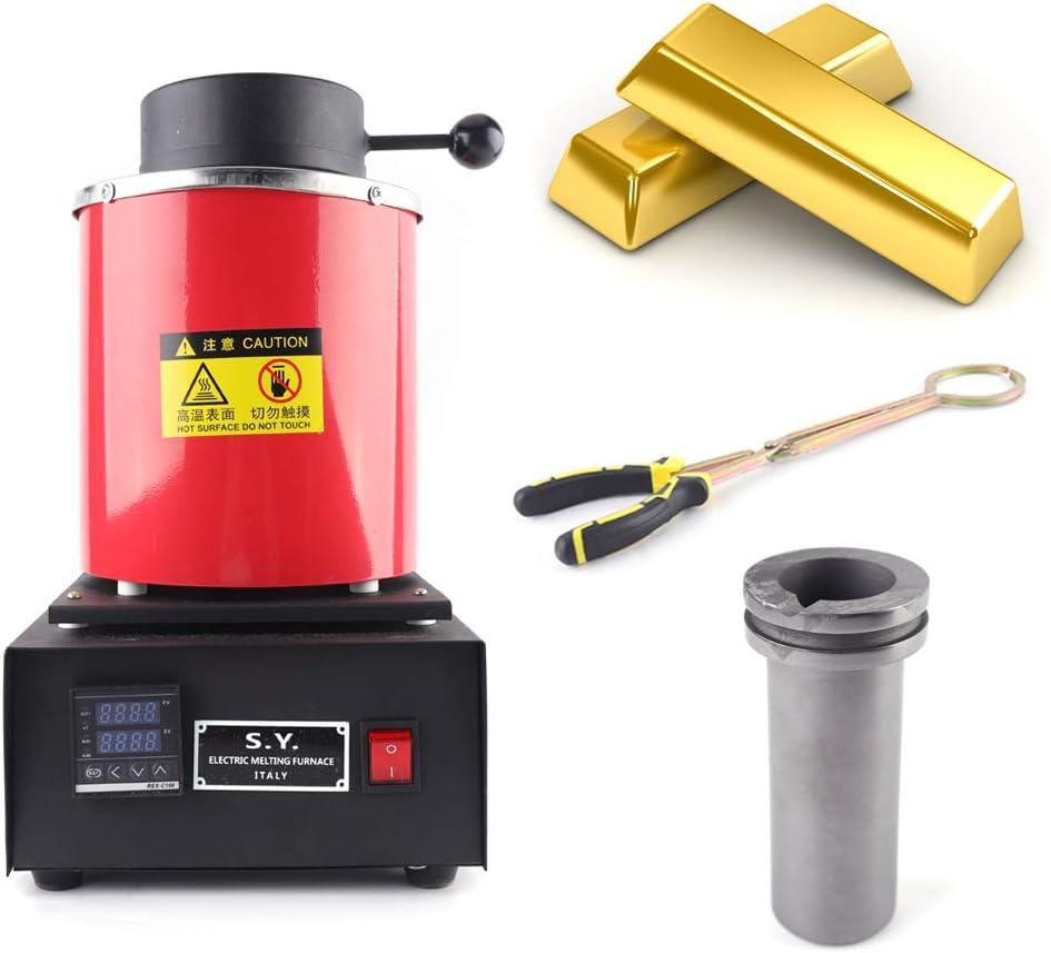 CNCEST 3KG Melting Furnace Crucible Crucible Tongs Gold Silver Copper Melting Kit