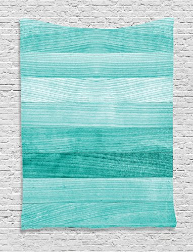 Teal Decor Tapestry By Ambesonne, Painted Wood Texture Penal Horizontal Lines Birthdays Easter Holiday Print Backdrop, Bedroom Living Room Dorm Decor, 40 W x 60 L Inches, Turquoise (Ideas Teal Wall)