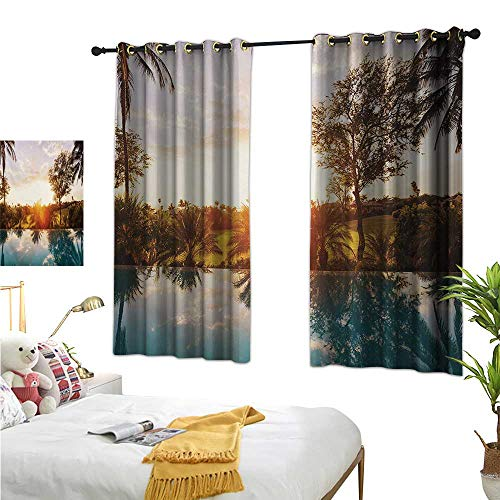 (Warm Family Blue Curtains Hawaiian,Home with Swimming Pool at Sunset Tropics Palms Private Villa Resort Scenic View,Orange Teal 54