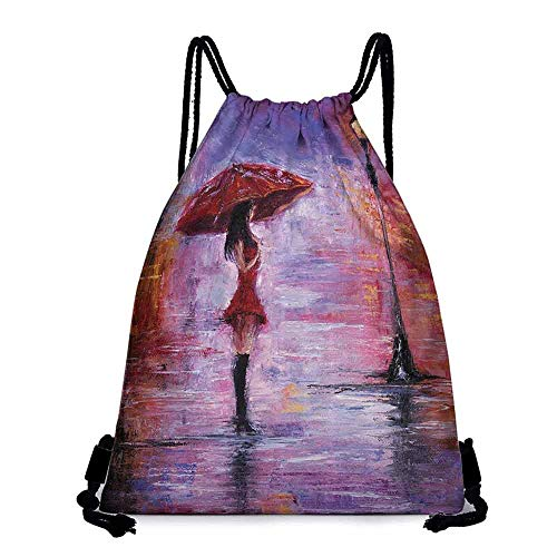 Custom backpack Lakehouse Decor Collection Oil Painting View Alone Young Woman Holding Umbrella near a Retro Street Lamp at a Rainy Night Gym shopping campaign W14