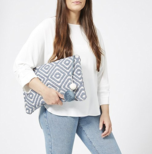 Travel Geometric Waterproof Pompom Blue Pattern and Oversized with Lining Clutchbag Ashiana Light 5wICHxvq1