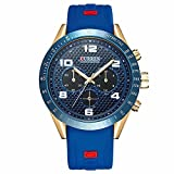Luxury Watch Men's Sports Fashion Military Army Quartz Analog Wrist Watch (Blue)
