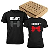 365 In Love Beauty and Beast Couple Tees Cute Matching T-Shirts (Men- M/Women- M)