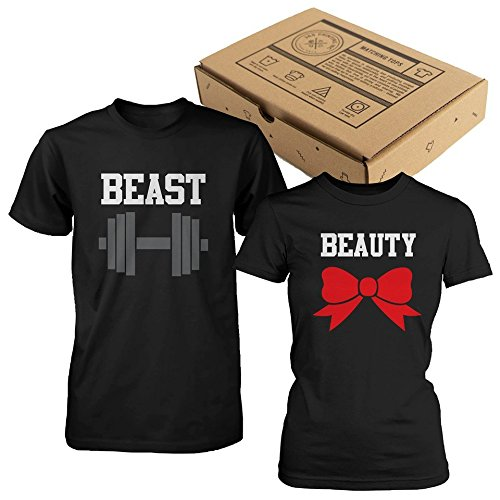365 In Love Beauty and Beast Couple Tees Cute Matching T-Shirts (Men- L/Women- L)