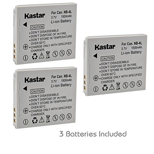 Kastar Battery (3-Pack) for Canon NB-4L, CB-2LV and Canon PowerShot SD1000 SD1100IS SD1400IS SD200 SD30 SD300 SD400 SD430 SD600 ()