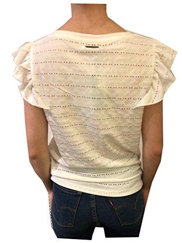 Circle of Trust S18.59.2001 trixy Tee Vanilla Ice T-Shirt mit Lochmuster und Rüschen Ärmel