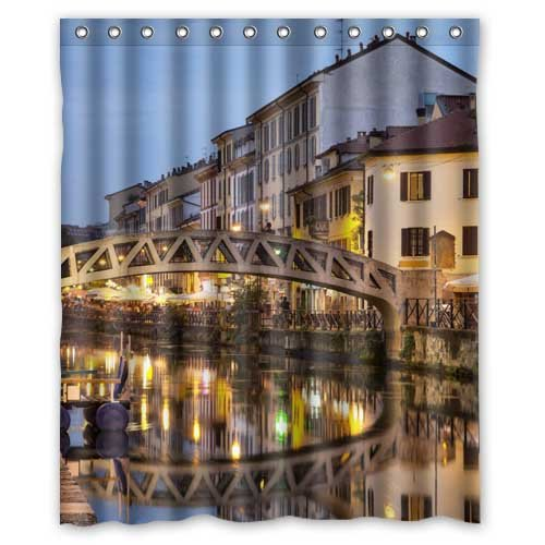 - Italy Houses Rivers Bridges Milan Night Cities Custom Fashion Waterproof Fabric Bath Shower Curtain 60