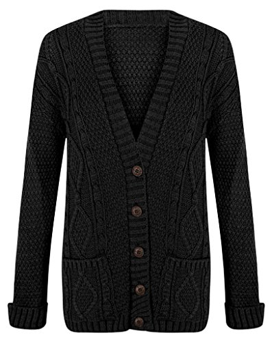 Chunky Cotton Cardigan - Womens Cable Knit Chunky Ladies Grandad Boyfriend Pocket Button up Top Cardigan-Black-Medium/Large
