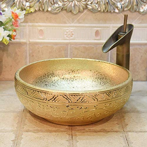 Yadianna 景徳鎮セラミック洗面台芸術盆地金メッキロータスセラミック洗面用バスルームのシンク