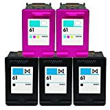 OCProducts Refilled HP 61 Ink Cartridge Replacement for HP Envy 4500 5530 Deskjet 1010 3050 2540 2050 Officejet 2620 Printers (3 Black 2 Color)