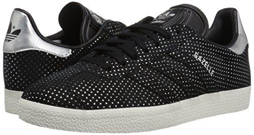 Adidas Originals Women's Gazelle W Sneaker, Black/Black/Silver Metallic, 5 M US