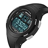 Children Outdoor Sports Watches Digital Electronic LED Waterproof Watch Boys Girls Silicone Band Watch (Black)
