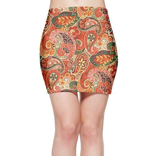 TAGSB Paisley Boho Pattern Fashion Elastic Waist Bodycon Casual Stretchy Pencil Mini Skirt Above Knee - Mini Paisley Pattern