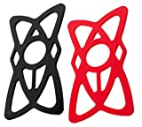 Aduro Pack Of 2, Replacement Rubber / Silicone Bands for U-GRIP PLUS Universal Bike, Motorcycle, Handlebar, Roll Bar Mount for All Smartphones, Apple iPhone, Samsung Galaxy, Motorola (Black + Red)