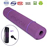 ATHOON Thick Yoga Mat with Bag 2018 New Eco Friendly Non Slip Exercise Mat – ¼-Inch High Density Padding to Avoid Sore Knees During Pilates, Workouts, Longer and Wider for Men & Women, Purple Review