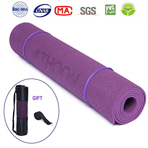 ATHOON Thick Yoga Mat with Bag 2018 New Eco Friendly Non Slip Exercise Mat - ¼-Inch High Density Padding to Avoid Sore Knees During Pilates, Workouts, Longer and Wider for Men & Women, Purple