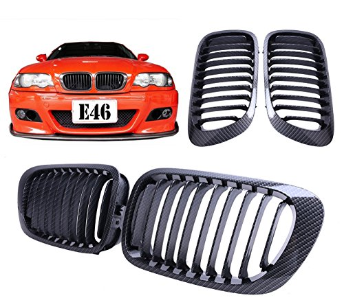 Price comparison product image Kawayee Carbon Fiber Black Front Kidney Grill Grille For BMW E46 2 Door 2D 3 Series 1998-2002 Coupe