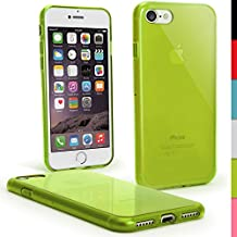 """iGadgitz Transparent Green Glossy TPU Gel Skin Case Cover for Apple iPhone 7 4.7"""" + Screen Protector"""