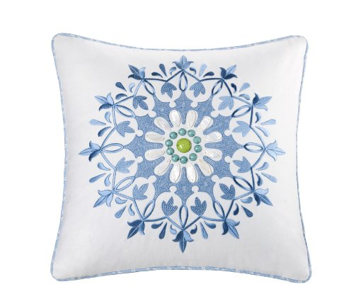 Echo Sardinia Fashion White Blue Throw Pillow for Bed, Global Inspired Embroidered Pattern Square Decorative Pillows, 18X18, White