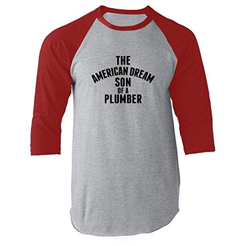 The American Dream Son of a Plumber Red XL Raglan Baseball Tee by Pop Threads